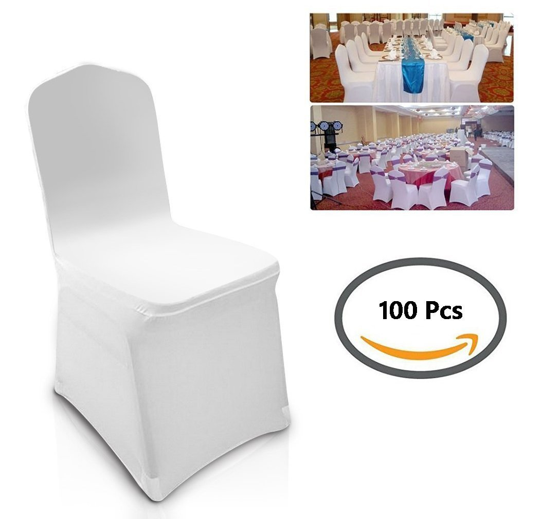 iekofo 豊富な品 100個ホワイト色ユニバーサルスパンデックスとポリエステル椅子カバーSlipcovers B07DCLWPJ5 forウェディング供給パーティー宴会装飾 ギフト