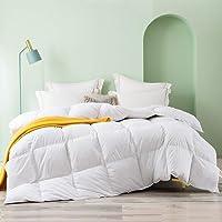 Topllen King All Season 100% Cotton Hypoallergenic Down Comforter with Corner Tabs (White)