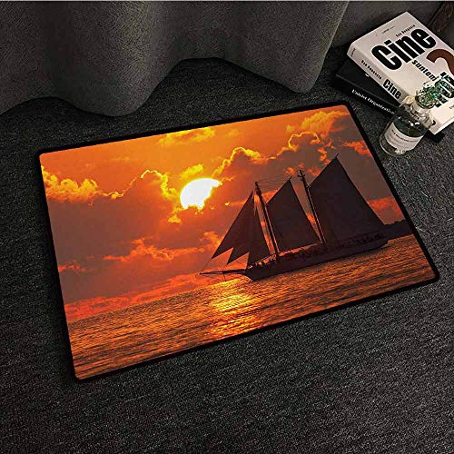 DILITECK Welcome Door mat Sailboat A Boat Sailing in Front of a Sunset in Key West All Season General W16 xL24 Florida Sundown Tropical (Best Pizza In Key West)