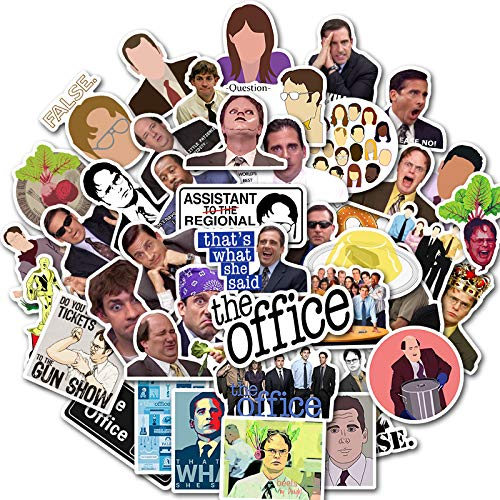 The Office Merchandise Stickers 50, Memorabilia for The Office TV Show, Dunder Mifflin Vinyl Sticker for Bumper Laptops Hydro Flask Water Bottles Phone Case - Funny Quote Sticker for Micheal Dwight