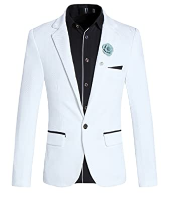 Mogu Mens One Button Closure Soprt Coat Jacket Blazer White Color At