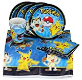 Party with Pokemon and Pikachu! Party Set Includes Table Cover, Plates, Napkins and Cups for 8