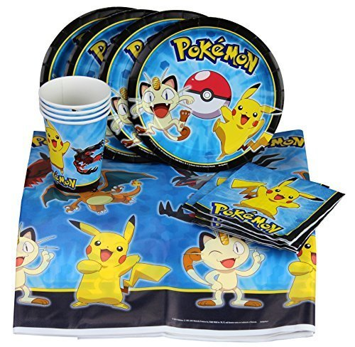 Party-with-Pokemon-and-Pikachu-Party-Set-Includes-Table-Cover-Plates-Napkins-and-Cups-for-8-by-BirthdayExpress