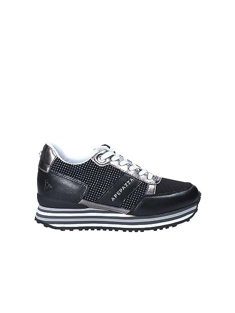 Apepazza Scarpe Sneaker Donna Pelle e Tessuto Nero e Argento