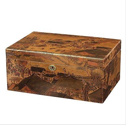 LHFJ Cigar Humidificador Delute Cigar Box Cedro Estufa de Madera Tratamiento de Barniz Cigar Organizer con