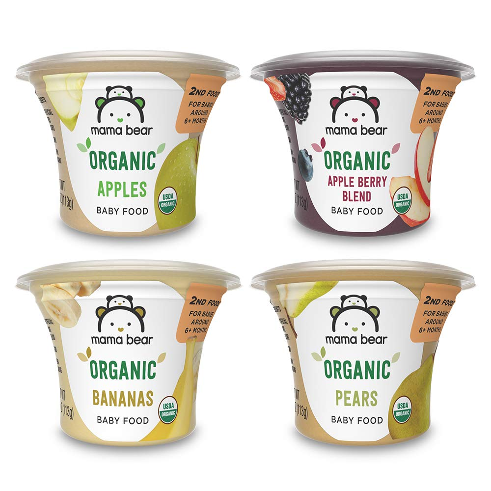 Amazon Brand - Mama Bear Organic Baby Food, Fruit Variety Pack, 4 Ounce Tub, Pack of 12