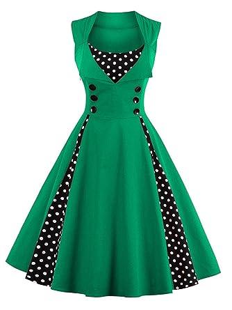 0a223afd6b9 VKStar Vintage 50er Jahre Rockabilly Kleid Ärmellos Retro Swing Elegantes  Abendkleid mit Knöpfe  Amazon.de  Bekleidung