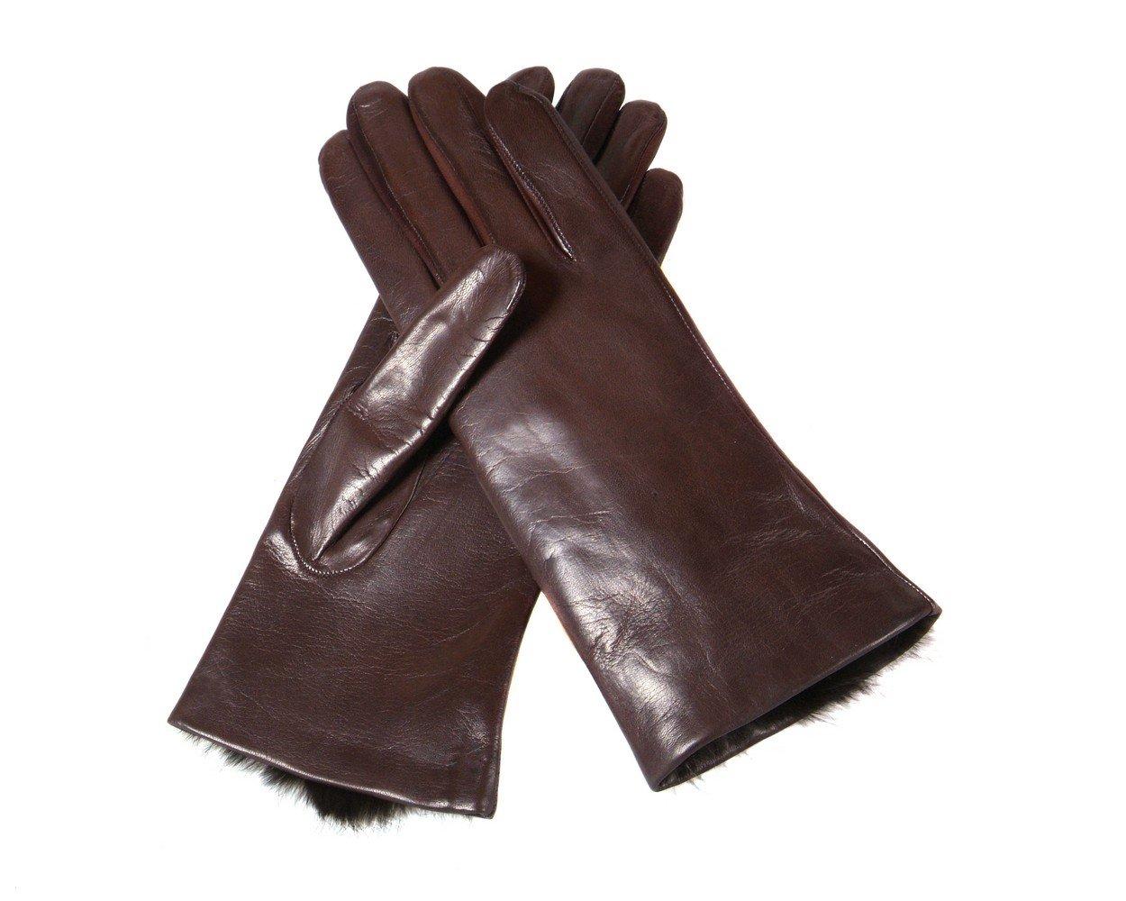 SAGEBROWN Brown Ladies Fur Lined Gloves