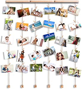 ATPWONZ Hanging Photo Display Family Picture Frames Collage with 30 Clips, 24×29 inch Pictures Organizer Wall Decor for Ins Photos, Family Pictures, Prints, Artwork, Crafts etc.