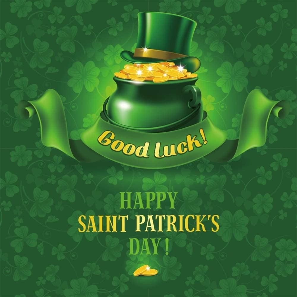 AOFOTO 10x10ft Happy Saint Patricks Day Green Backdrop Gold Coins Pot Leprechaun Hat Shamrock Clover Good Luck Photography Background Festival Celebration Spring Portraits Shooting Photo Booth Prop