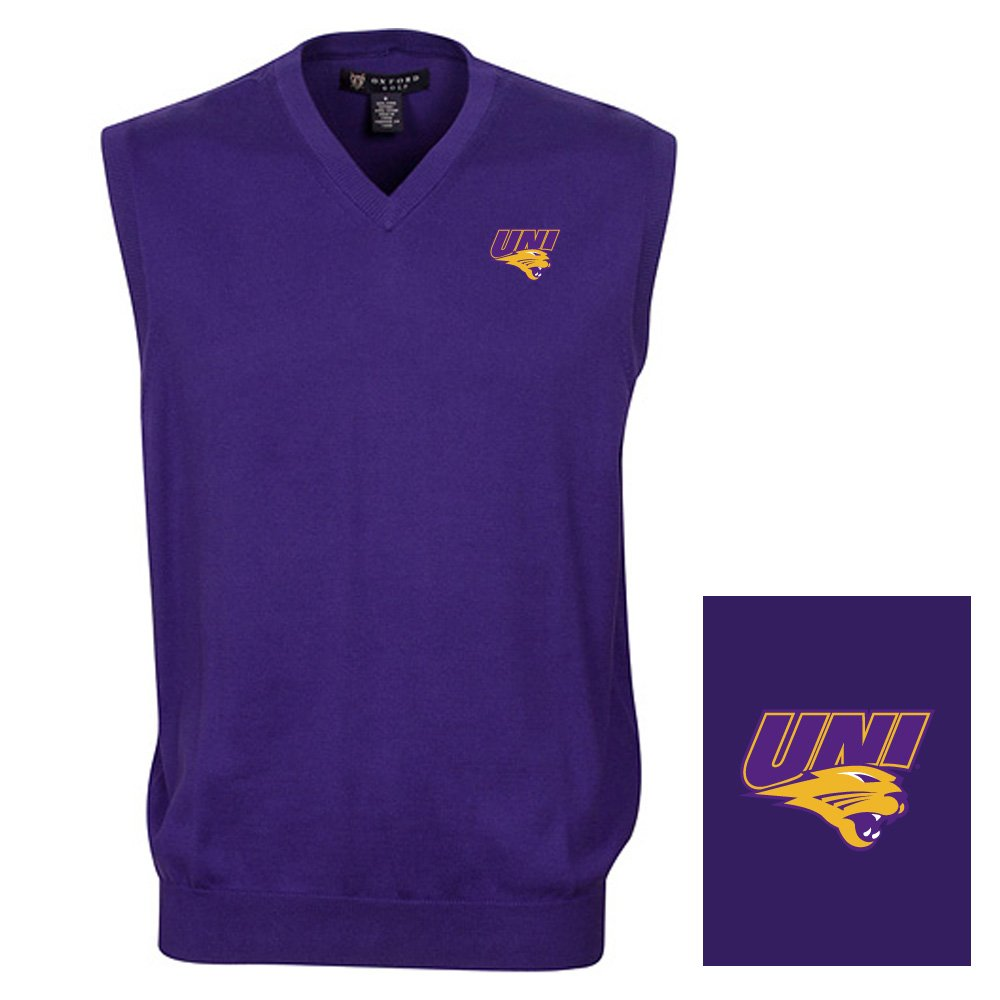 Oxford NCAA Northern Iowa Panthers Men's Solid Vee Neck Sweater Vest, Grape, Medium
