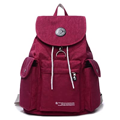 Large Water Resistant Nylon Backpack Purse Lightweight Outdoor Travel Daypack for Women Cycling Hiking Camping Casual Drawstring School Bag for Girls