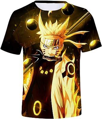 FLYCHEN Hombre Camiseta con Estampado 3D Naruto Animado Ninja Mens T-Shirt Naruto Colorful Hokage Top Uchiha: Amazon.es: Ropa y accesorios