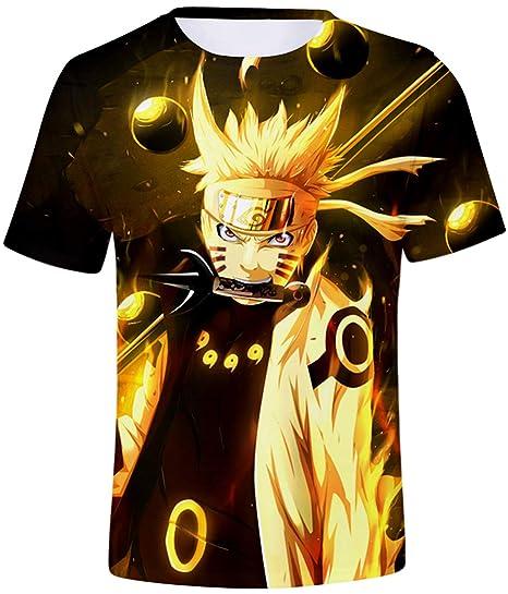 FLYCHEN Niños Camiseta con Motivo Naruto 3D Impreso Gráfica Fantástica Boys T-Shirt Cuello Redondo Animados