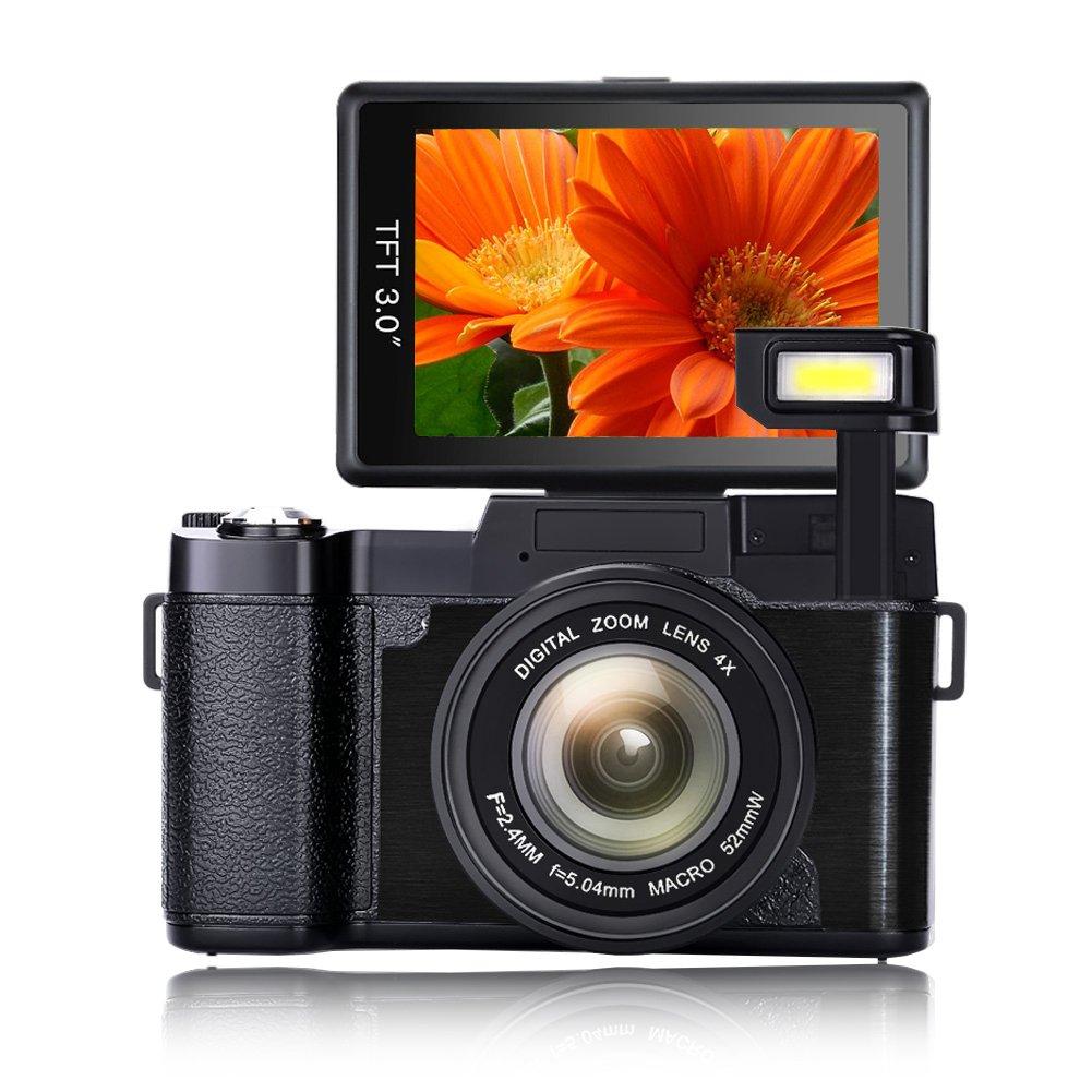 Digital Camera Vlogging Camera handheld camcorder Full HD1080p 24.0MP Camcorder digital camcorder 3.0 Inch Flip Screen Camera with Retractable Flashlight Vlogging Camera for YouTube
