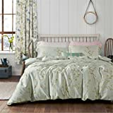 MICBRIDAL Fresh Vintage Style Floral Duvet Cover King Soft 100% Long Staple Cotton Floral Pattern Sage Green Bedding Set with