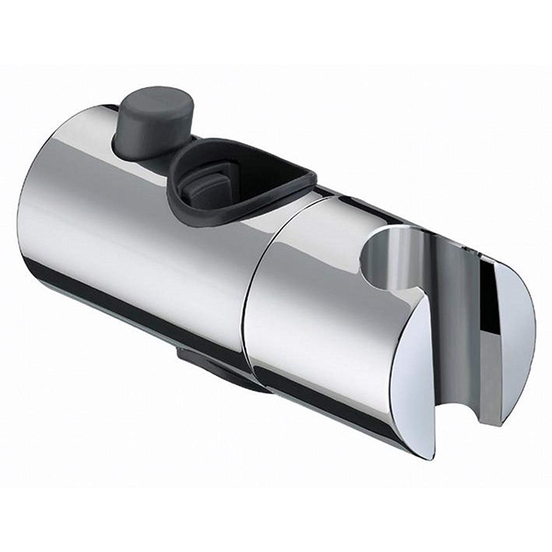 Supporto per soffione doccia, BESTHINKY ricambio 19mm 22mm 24mm 25mm Supporto doccia regolabile per altezza e inclinazione del cursore Supporto spruzzatore regolabile su barra scorrevole, cromato (19mm)