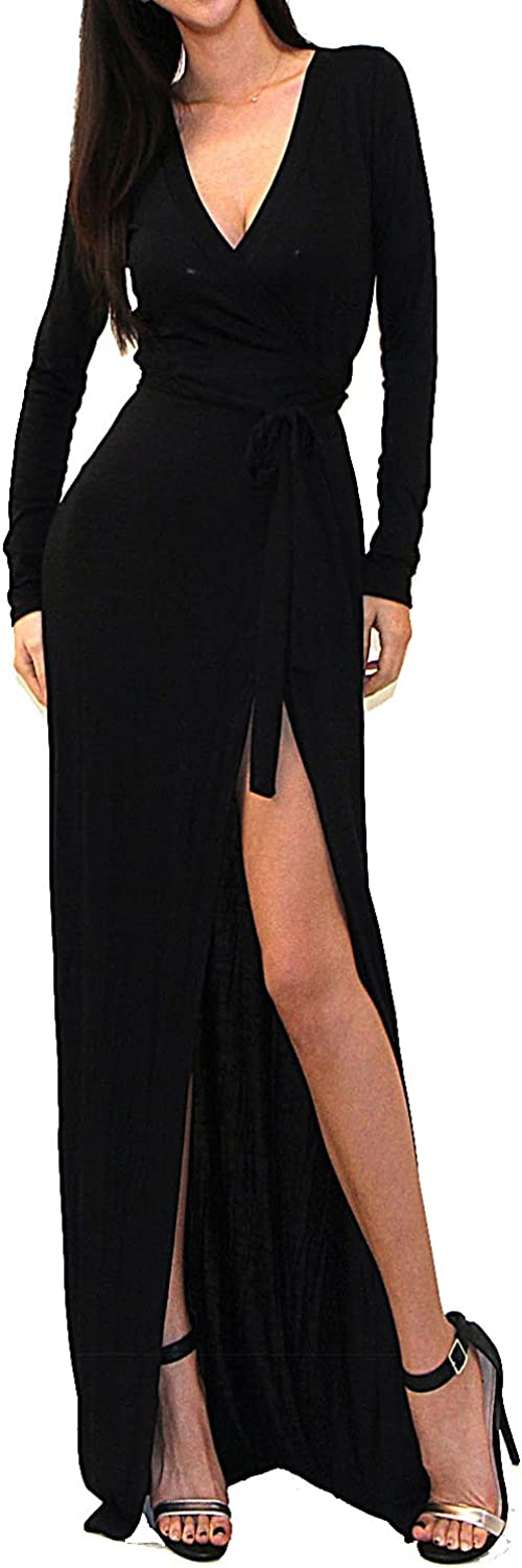 Vivicastle Women's USA Sexy Long Sleeve Tulip Wrap Slit Front Full Long Maxi Dress at  Women's Clothing store
