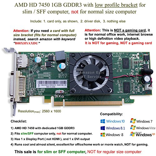 AMD Radeon HD 7450 1GB / 1024MB Low Profile Graphics Card Fits Slim / SFF Size Computer