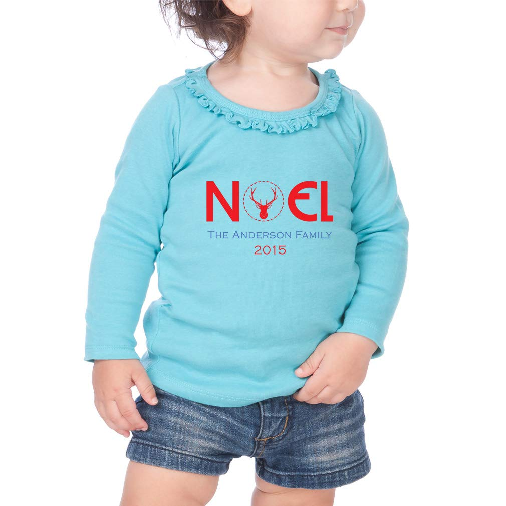 Personalized Noel Family Deer Cotton Toddler Long Sleeve Ruffle Shirt Top