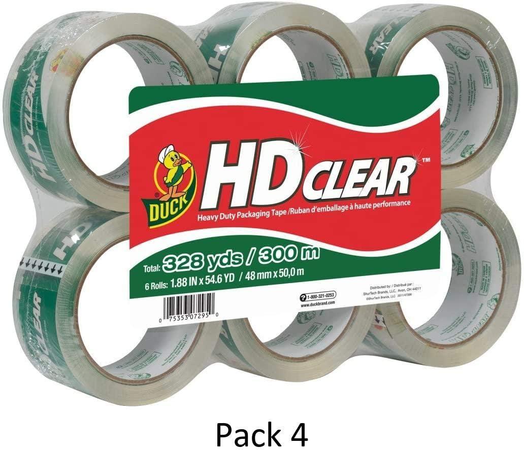 441962 1.88 Inch x 54.6 Yard, 6 Rolls Pack of 1 Duck HD Clear Heavy Duty Packing Tape Refill