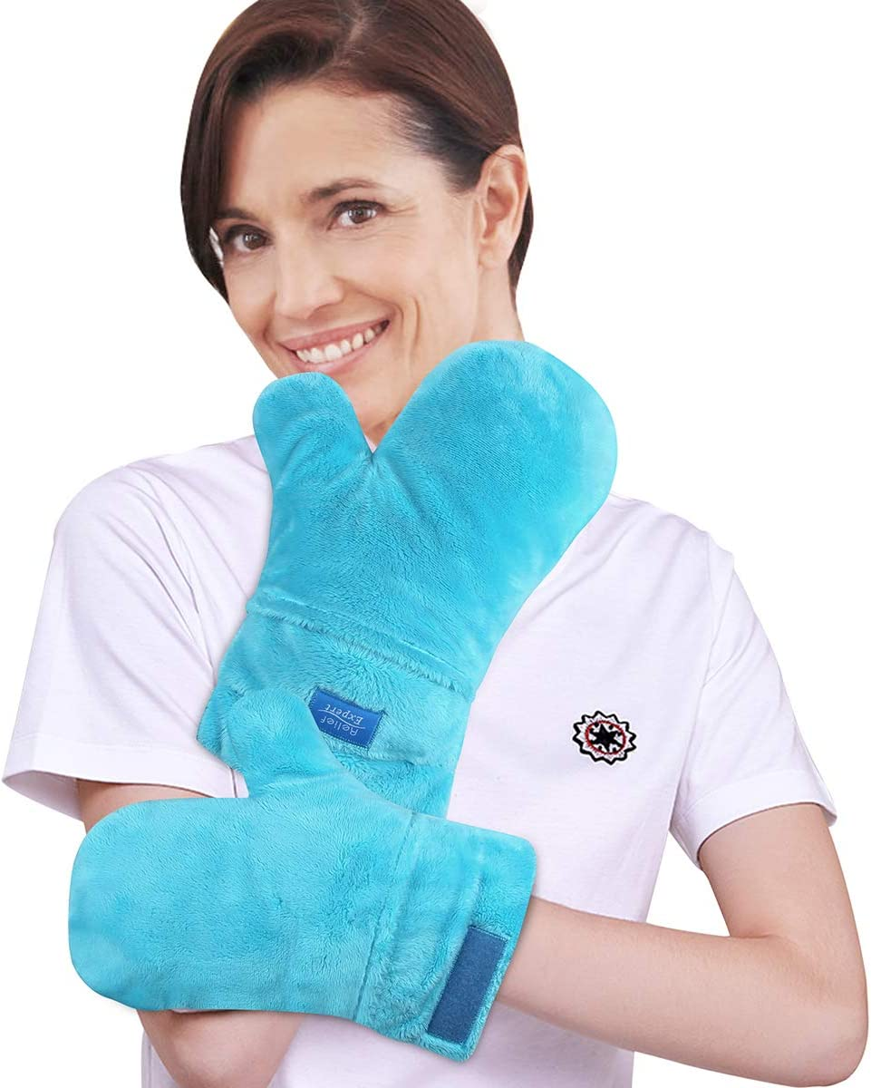 Relief Expert Microwavable Heated Mittens, Heat Arthritis Gloves for Hands Warmer Therapy and Trigger Fingers Pain Relief with Adjustable Velcro Universal Fit for Many Hand Sizes