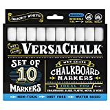 White Liquid Chalk Markers (10-pack) by VersaChalk - For Chalkboard Signs, Blackboards, Glass