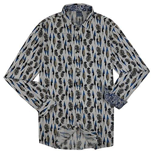 Bertelli Men's Slim-Fit Long-Sleeve, Pineapple Feather Print Shirt, Large, LS-403-S-L
