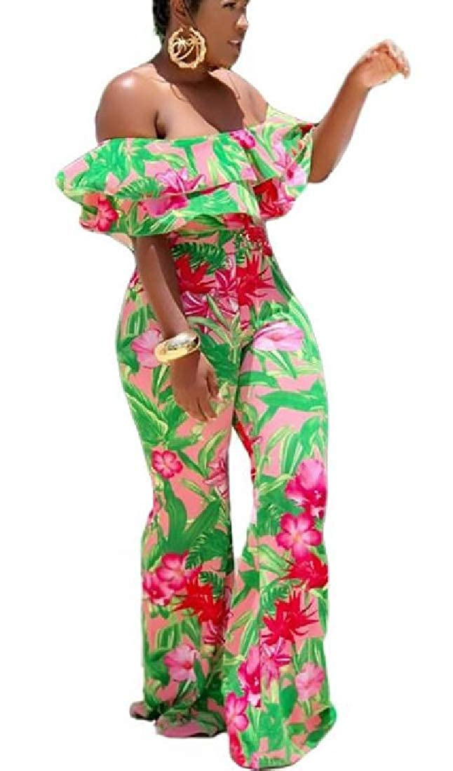 CRYYU Women Stylish Off The Shoulder Floral Print Club Ruffle Long Jumpsuits