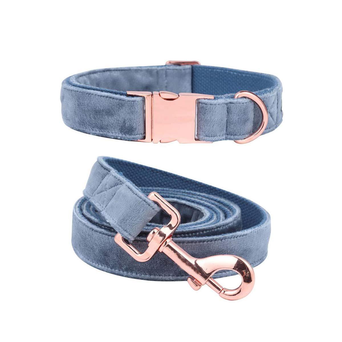 Collar and leash XS collar and leash XS Jesiceeal Christmas Dog Collar and Leash Set Designer bluee Velvet Adjustable Dog Collars for Big Dog Collar and Leash XS