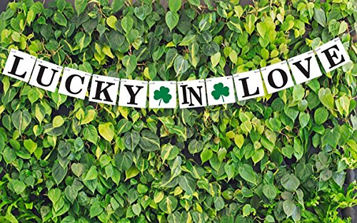 IRISH Wedding Banners-lucky banner-shamrock decor-LUCKY in LOVE Sign-St Patrick's Day Signs-st patricks day decorations - March 17 decoration-Outdoor decor-house warming presents-Card stock (St Patricks Day Wedding)