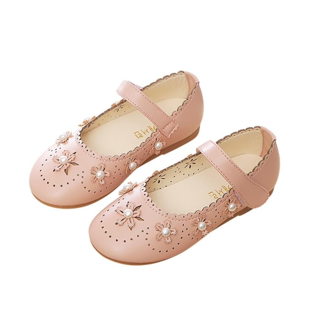 45a648b58 Fashion Children Shoes, Hmeng Kid Girls Ballet Flats Slip Hollow Flower  Wave Pearl Non-Slip Princess Party Casual Shoes Sandals (5.5, Pink):  Amazon.co.uk: ...
