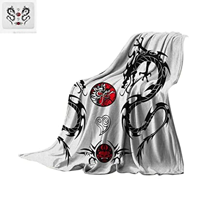 c5026c995 Japanese Dragon Super Soft Lightweight Blanket Tribal Tattoo Style Asian  Indigenous Creatures with Artistic Details Custom