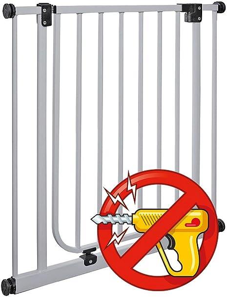 van Hoogen® Modelo CLEA | apta para 62 – 212 cm | Altura 77 cm | Sin taladrar | Reja protectora para puertas y escaleras en 3 colores | Montaje sencillo | Seguridad para bebés y perros: Amazon.es: Bebé