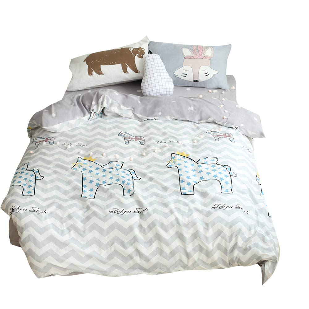 BuLuTu Cartoon Horse Print Cotton Duvet Cover Queen White/Grey Reversible Full Comforter Cover Bedding Sets 3 Pieces Zipper Closure 4 Corner Ties Kids Boys Girls,Lightweight,No Comforter
