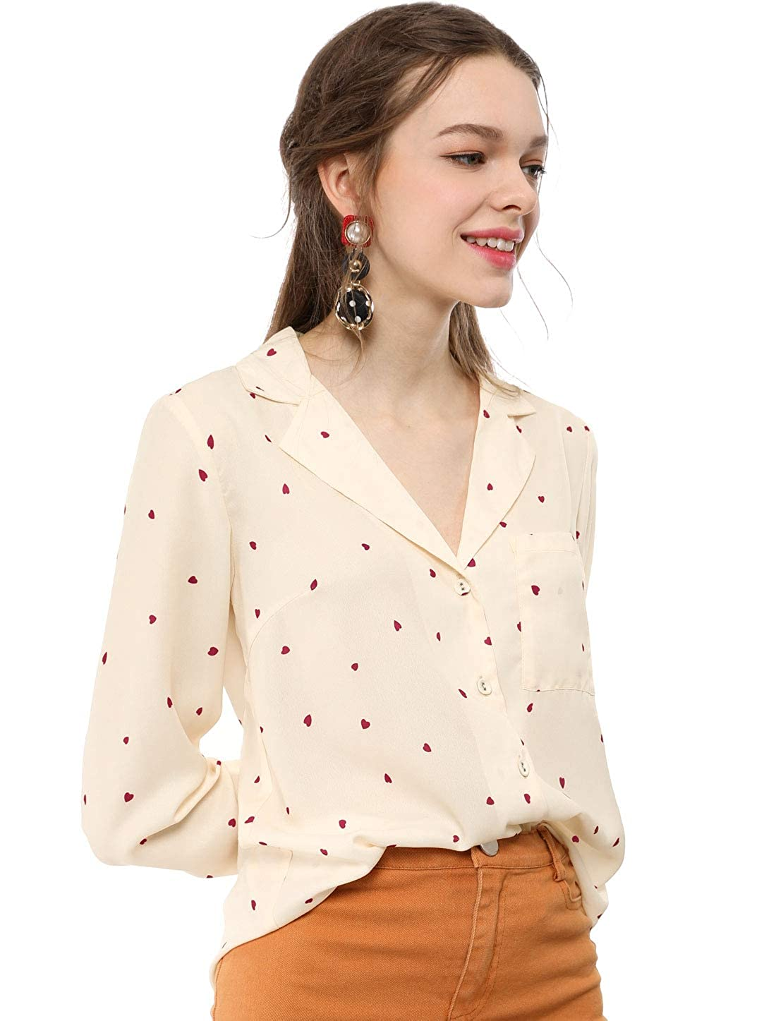 30e853014e Allegra K Women's Button Down Notched Lapel V Neck Long Sleeves Heart Polka  Dots Shirt Tops with Chest Pocket at Amazon Women's Clothing store: