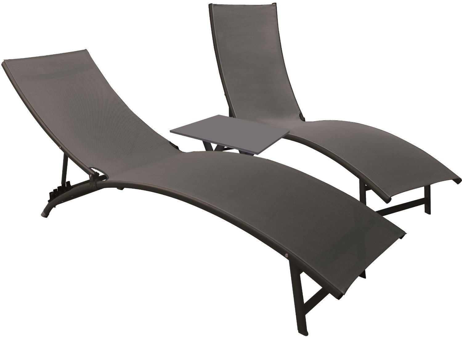 Eclipse Collection Midtown Sun Lounger 3 Pc Set (2 loungers, 1 table) - Black Chrome New