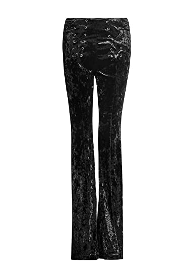 56ce00f420 Punk Rave Chic Bell Bottom Pants for Women with Pockets Flared Velvet  Skinny Elastic Waist Rock Pants: Amazon.co.uk: Clothing
