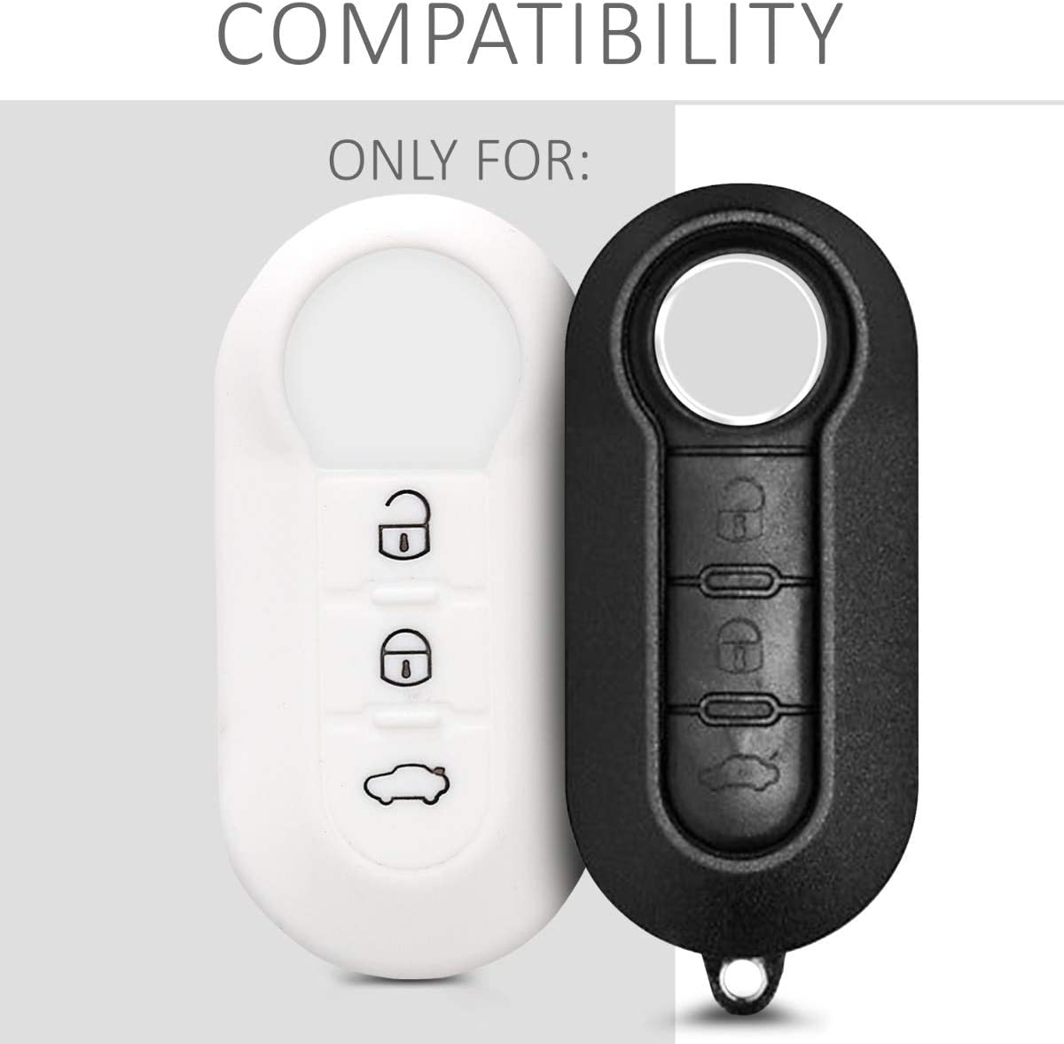 kwmobile Car Key Cover Compatible with Fiat Lancia 3 Button Car Flip Key Silicone Protective Key Fob Cover Rally Stripe Black//White