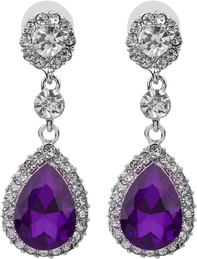 Pendientes de Joyería de Moda Pendientes de Diamantes de Imitación de Cristal con Borla de Perno Prisionero - Púrpura