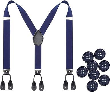 Tirantes de botón para hombre - Tirantes elásticos en forma de Y de 1.4 pulgadas de ancho con botones de cuero resistente y tirantes ajustables: Amazon.es: Ropa y accesorios