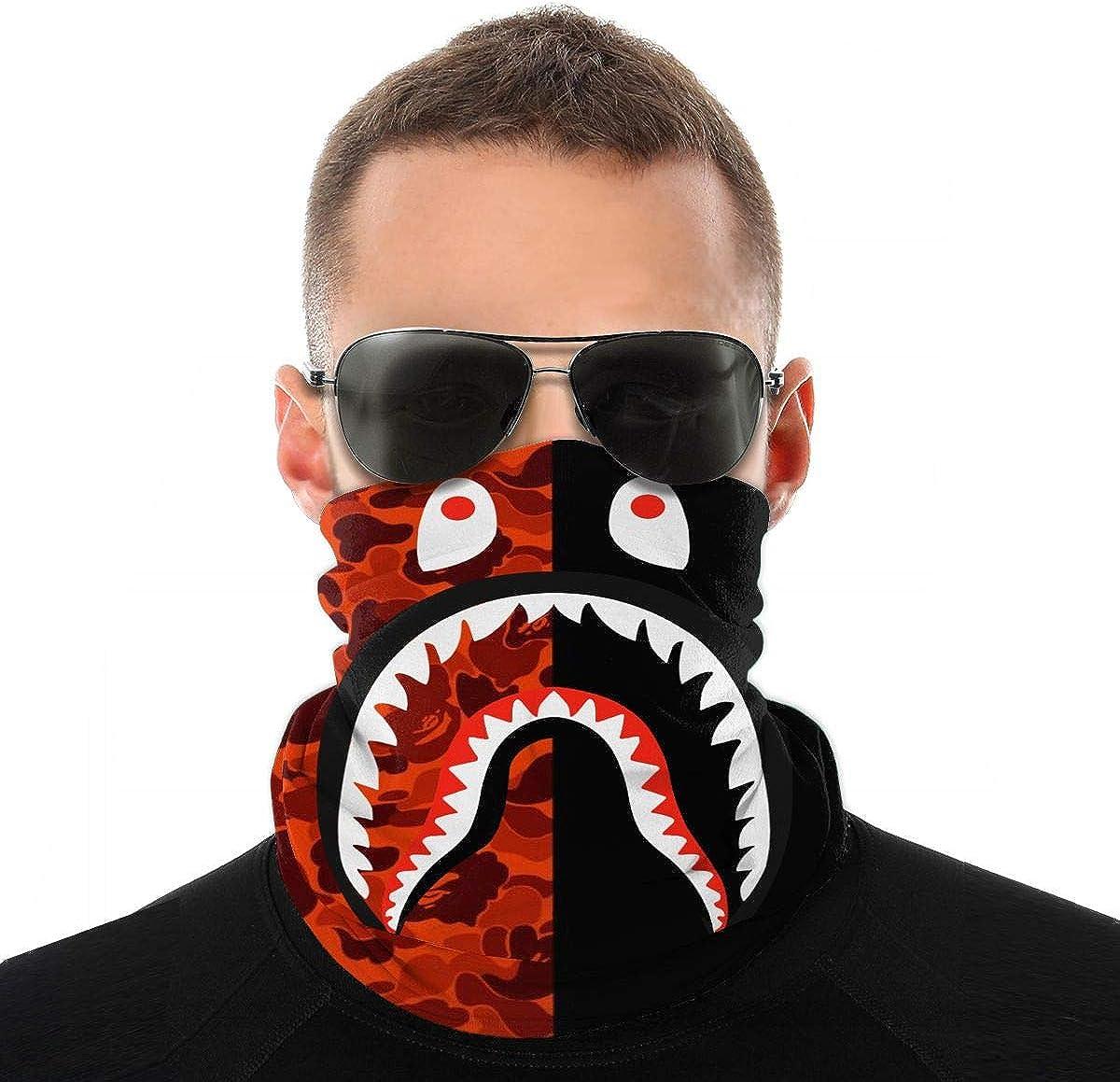 Bape Blood Shark Neck Gaiter Scarf Face Cover-Dust,Outdoor Sun Protection Cool Lightweight Windproof Uv Balaclava Bandana