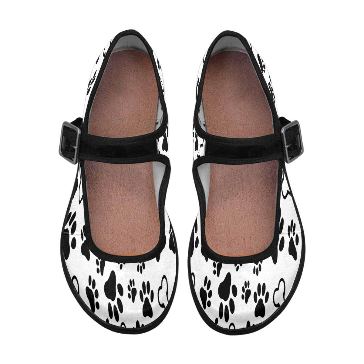 INTERESTPRINT Womens Satin Mary Jane Flats Ballet Shoes Funny Dog Bone and Paw Prints Footprint