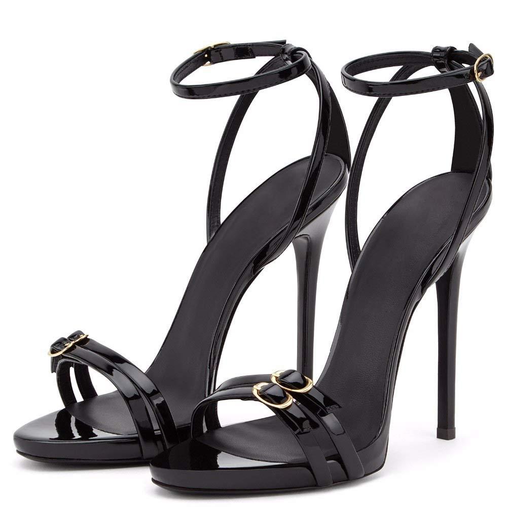 Black LIXUDITAN Buckle fine high Heel Women's Fashion Sandals Foreign Trade Women's shoes JDF®