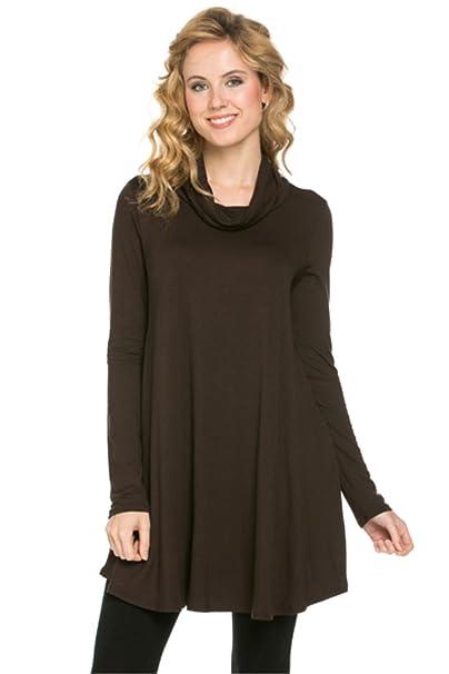 YFH Women s Mock Turtleneck Long Tunic Top Trapeze Long Sleeve Dress  (Small e90ea4601
