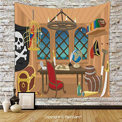 FashSam Tapestry Wall Hanging Cabin of a Pirate Captain Parrot in Cage Jolly Roger Treasure Chest Liquor Barrels Tapestries Dorm Living Room Bedroom(W39xL59)]()