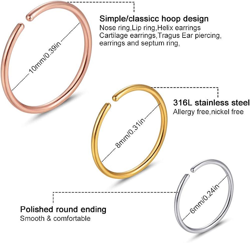 Angel King Stainless Steel Hoop Nose Ring Cartilage Ring Set 6 Color Set for Men and Women