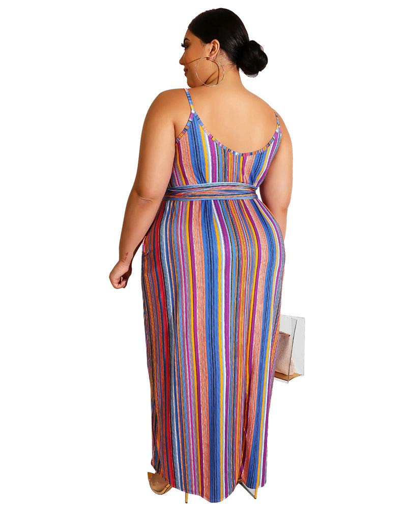 Ophestin Womens Plus Size Maxi Dresses - Spaghetti Straps Causal Summer Dress with Pockets