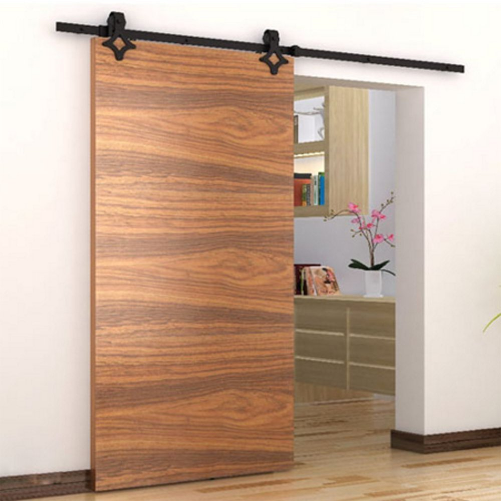 Barn Wood Sliding Door Hardware Set, American Country Style Sliding Barn Closet Door Hardware Track Set for Single Wooden Door (6.6FT) Yosoo