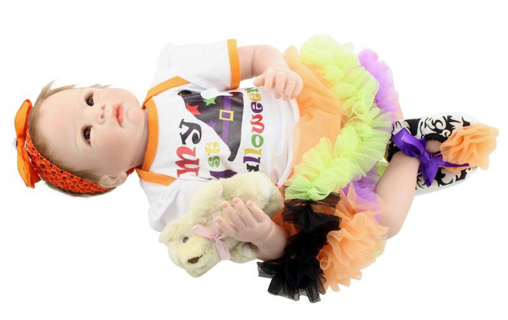 Fineserハンドメイドリアルな赤ちゃんLifelike人形Rebornベビー人形シリコンおもちゃ新生児キッズplaymate-21.6インチ   B07BDDNLD5